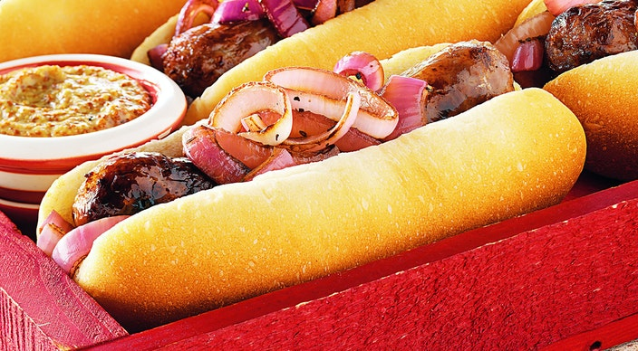 Image of Brats with Glazed Red Onions